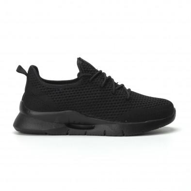 Ανδρικά μαύρα αθλητικά παπούτσια Hole design ελαφρύ μοντέλο it250119-24 2