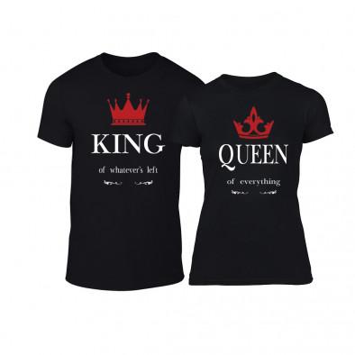 Μπλουζες για ζευγάρια King Queen μαύρο TMN-CP-114 2