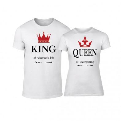Μπλουζες για ζευγάρια King Queen λευκό TMN-CP-113 3