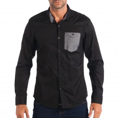 Ανδρικό μαύρο πουκάμισο CROPP lp070818-119 2