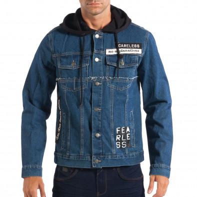 Ανδρικό γαλάζιο τζιν μπουφάν με κουκούλα RESERVED lp070818-86 2