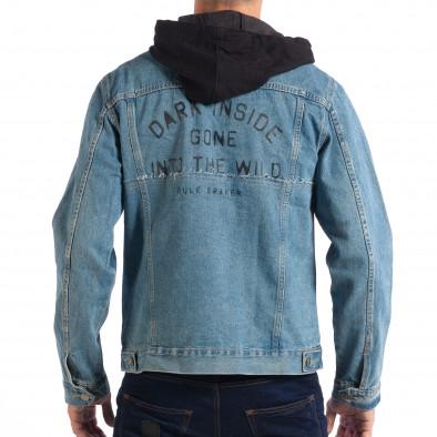 Ανδρικό γαλάζιο τζιν μπουφάν με κουκούλα RESERVED lp070818-85 3
