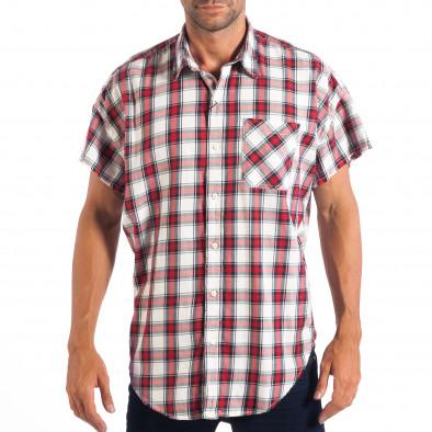 Ανδρικό Regular κοντομάνικο πουκάμισο RESERVED κόκκινο καρέ lp070818-127 2