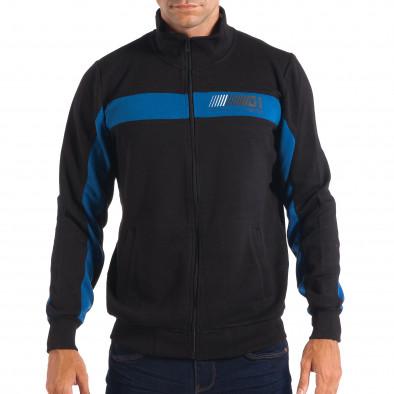 Ανδρικό μαύρο φούτερ με μπλε ρίγα House lp080818-115 2