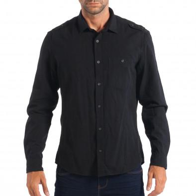 Ανδρικό μαύρο λινό πουκάμισο RESERVED Regular fit lp070818-116 2 ... 4fde755b8ed
