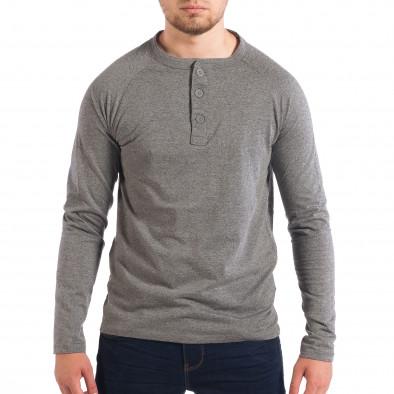 7a3055a6323d Ανδρική γκρι μπλούζα με κουμπιά RESERVED lp070818-43 - Fashionmix.gr