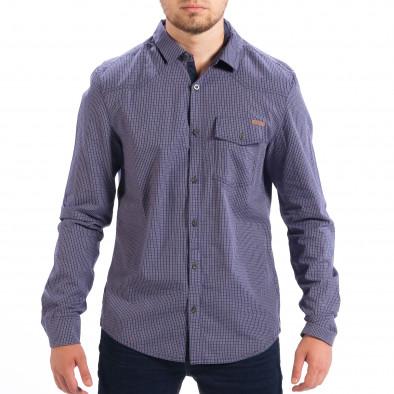Ανδρικό γαλάζιο καρέ πουκάμισο Slim fit CROPP lp070818-132 2