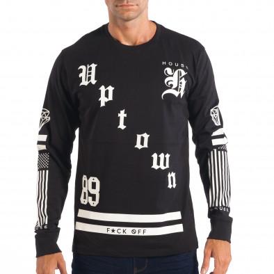 Ανδρική μαύρη μπλούζα House Uptown lp070818-16 2
