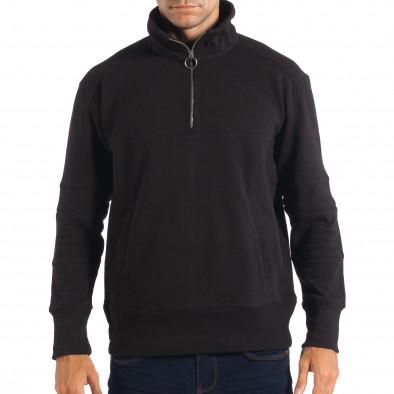 Ανδρικό μαύρο φούτερ με τσέπη καγκουρό RESERVED lp080818-105 2