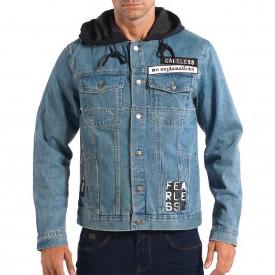 Ανδρικό γαλάζιο τζιν μπουφάν με κουκούλα RESERVED lp070818-85 2