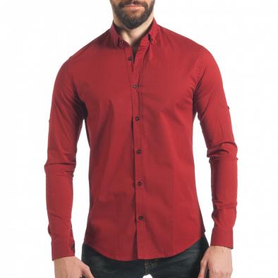 358842106906 Ανδρικό κόκκινο πουκάμισο Mario Puzo tsf220218-9 - Fashionmix.gr