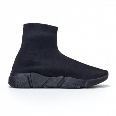 Ανδρικά μαύρα αθλητικά παπούτσια slip-on All-black it240418-28 2