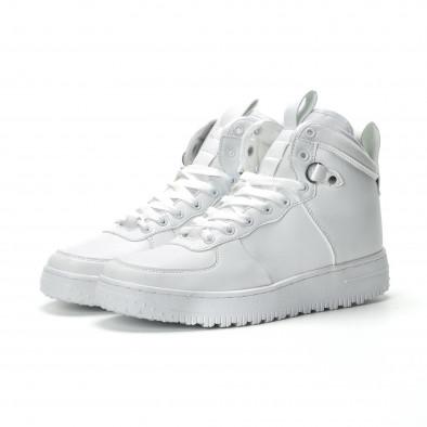 Ανδρικά λευκά ψηλά sneakers με τρακτερωτή σόλα it301118-10-1 3
