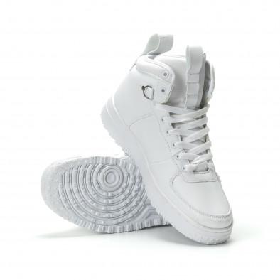 Ανδρικά λευκά ψηλά sneakers με τρακτερωτή σόλα it301118-10-1 4
