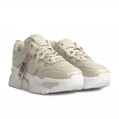Γυναικεία μπεζ sneakers Chunky it310321-10 3