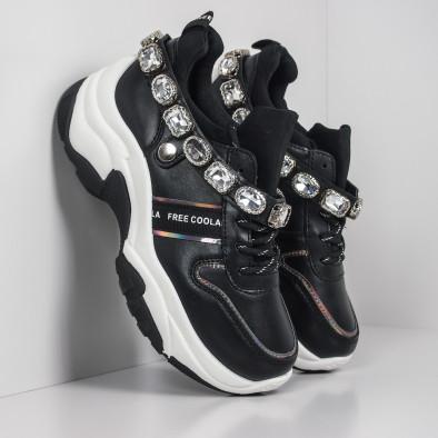 Γυναικεία μαύρα αθλητικά παπούτσια με στρασάκια it260919-62 3