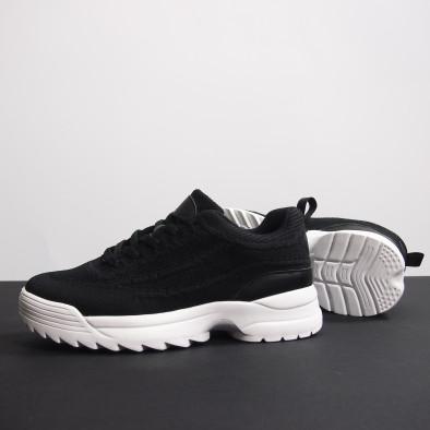 Ανδρικά μαύρα αθλητικά παπούτσια με Chunky σόλα it230519-13 4