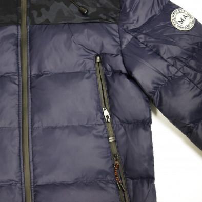 Ανδρικό μπλέ χειμωνιάτικο μπουφάν με κουκούλα it091219-12 5
