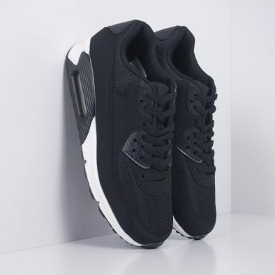 Ανδρικά μαύρα αθλητικά παπούτσια με αερόσολα it251019-8 2