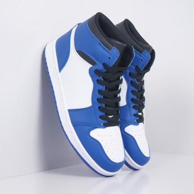 Ανδρικά ψηλά μπλε-λευκά sneakers  it251019-21 2