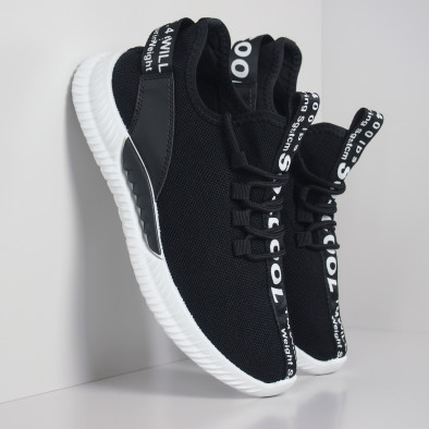 Ανδρικά μαύρα υφασμάτινα αθλητικά παπούτσια με λευκή επιγραφή it110919-3 4