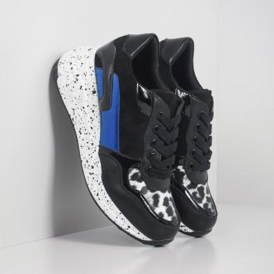 Γυναικεία μαύρα αθλητικά παπούτσια με λεπτομέρειες από λουστρίνι και μπλε it281019-14 4
