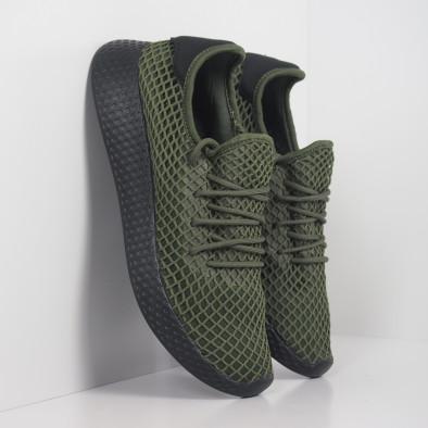 Ανδρικά πράσινα αθλητικά παπούτσια Mesh με μαύρη φτέρνα it251019-1 4
