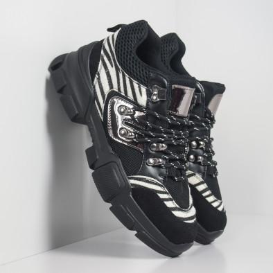 Γυναικεία αθλητικά παπουτσια τύπου Hiker σε μαύρο και ζέβρα it281019-28 4