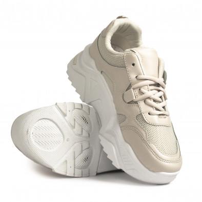 Γυναικεία μπεζ sneakers Chunky it310321-10 4