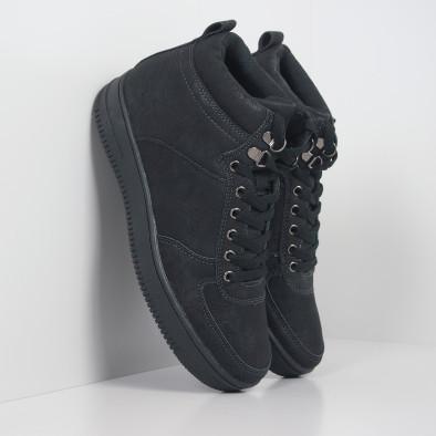 Ανδρικά ψηλά μαύρα sneakers τύπου μποτάκια it251019-18 2