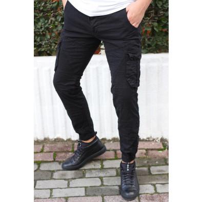 Ανδρικό μαύρο παντελόνι cargo Blackzi tr170320-2 5