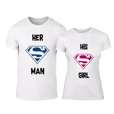 fafde3018d42 Μπλουζες για ζευγάρια Superman Supergirl λευκό TMN-CP-151 ...