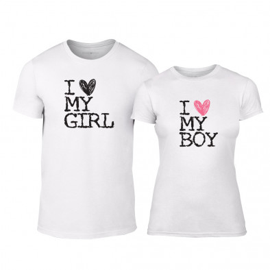 Μπλουζες για ζευγάρια Love My Girl Love My Boy λευκό TMN-CP-026 2