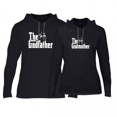 Φούτερ για ζευγάρια Godfather & Godmother μαύρο TMN-CPS-063 2