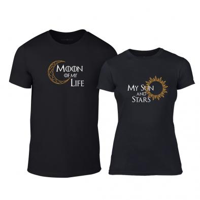 Μπλουζες για ζευγάρια Sun & Moon μαύρο TMN-CP-228 2
