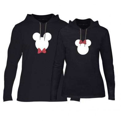Φούτερ για ζευγάρια Mickey & Minnie μαύρο TMN-CPS-029 2