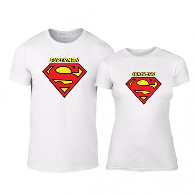 85add6431d44 Μπλουζες για ζευγάρια Superman   Supergirl λευκό TMN-CP-040 ...