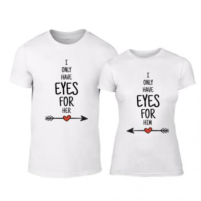Μπλουζες για ζευγάρια Eyes for You λευκό TMN-CP-258 2