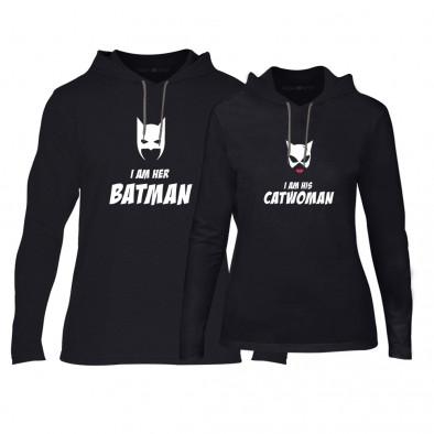 Φούτερ για ζευγάρια Batman & Catwoman μαύρο TMN-CPS-049 2