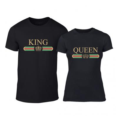Μπλουζες για ζευγάρια Fashion King Queen μαύρο TMN-CP-245 2