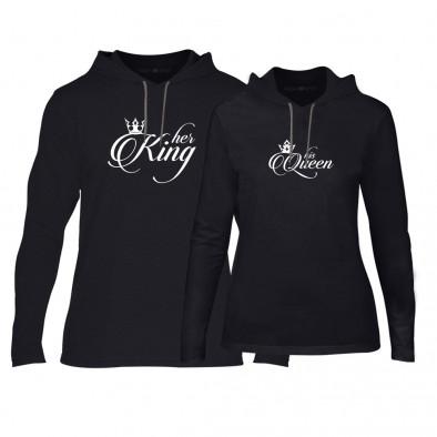 Φούτερ για ζευγάρια King & Queen μαύρο TMN-CPS-014 2