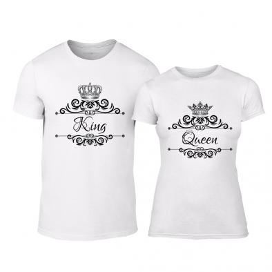 Μπλουζες για ζευγάρια Romantic King Queen λευκό TMN-CP-248 2