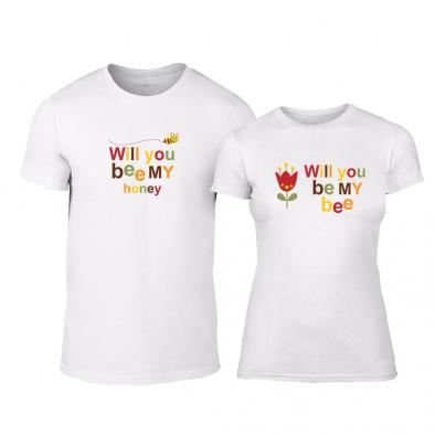 Μπλουζες για ζευγάρια Bee   Honey λευκό TMN-CP-231 - Fashionmix.gr cdeb355a8d7