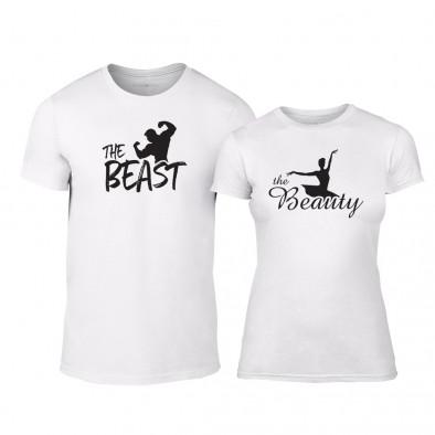 Μπλουζες για ζευγάρια Beauty & Beast λευκό TMN-CP-009 2