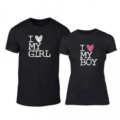 Μπλουζες για ζευγάρια Love My Girl Love My Boy μαύρο TMN-CP-027 2