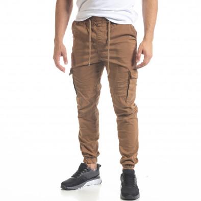 Ανδρικό παντελόνι Cargo Jogger σε χρώμα camel  tr240420-33 2