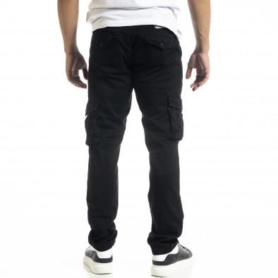 Ανδρικό μαύρο Cargo παντελόνι σε ίσια γραμμή tr240420-27 4
