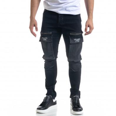 Slim fit αντρικό μαύρo τζιν με τσέπες tr110320-114 2