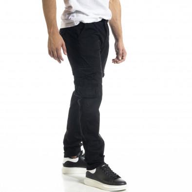 Ανδρικό μαύρο Cargo παντελόνι σε ίσια γραμμή tr240420-27 3