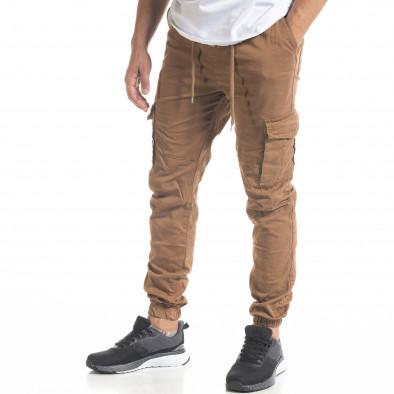 Ανδρικό παντελόνι Cargo Jogger σε χρώμα camel  tr240420-33 3